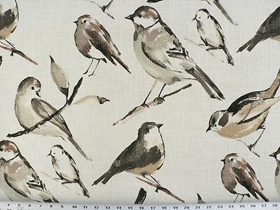 Drapery Upholstery Fabric Bird Branch Watercolor Screen Print on Linen - Winter