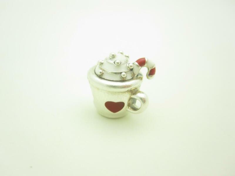 Pandora Sterling Silver Warm Cocoa Candy Cane Mug Christmas Holiday Charm