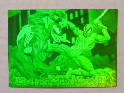 1993 Marvel Universe Spider-Man vs Venom H-IV Hologram Card GREEN TINT NM-MINT!!