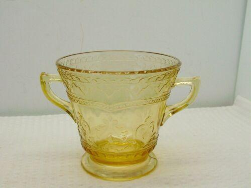 VTG Depression Federal Amber Yellow Glass Patrician Spoke Sugar Bowl