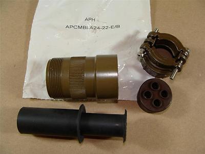 Amphenol Apcmbla24-22-eb Mil-c-5015 Mil Spec 4 Pin Male Round Connector Body