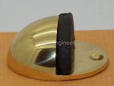 FLOOR FITTING POLISHED SOLID BRASS with RUBBER INSERT OVAL DOOR STOP