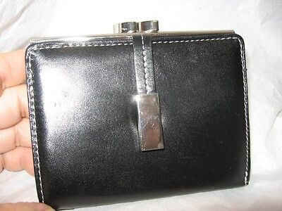 Black Leather French Purse - Mundi Leather Silver Frame French Purse,Black-See Description for Pictures
