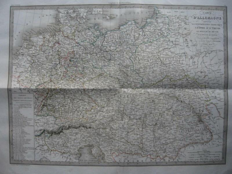 1830 - LAPIE - Large map  GERMANY POLAND HUNGARY AUSTRIA PRUSSIA CENTRAL EUROPE
