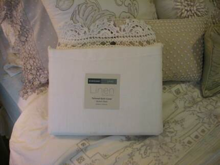 NEW SHERIDAN EVELINA LINEN & CROCHETED LACE QUEEN QUILT COVER WOW Austral Liverpool Area Preview
