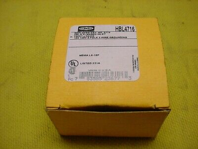 New In Box Hubbell Hbl4716 15a 125v Twist-lock Flanged Power Inlet