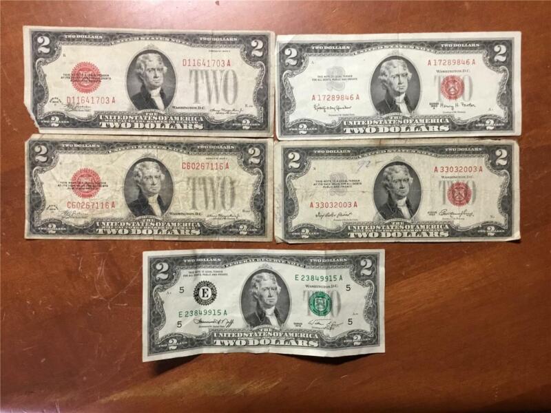 LOT (6) 1928-D 1953 1963-A 1976 $2 US NOTES Federal RESERVE Bills CURRENCY G/UNC