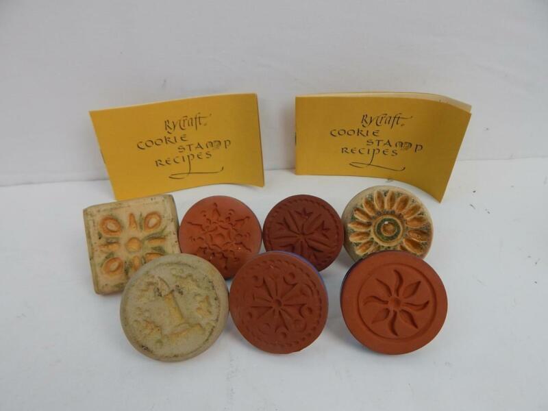 """Lot of 7 Rycraft Terra Cotta Ceramic Cookie Stamp Press 2"""" Round 1 Sq VINTAGE"""