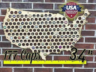 "34"" United States of America Beer Cap Map with Wall Mounts"