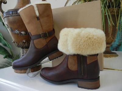 NIB WOMENS UGG PERNILLE SHEEPSKIN CUFF CHESTNUT SUEDE BROWN LEATHER BOOTS 8 $250