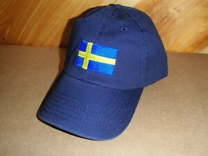 Sweden Swedish Flag Baseball Hat Cap Embroidered on Navy Cotton #CP074