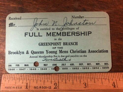 Brooklyn New York YMCA Young Mens Christian Association 1950 Membership Card