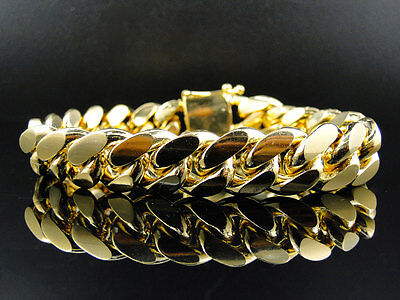 Mens Yellow Gold Finished Sterling Silver Miami Cuban Heavy Bracelet (15.13MM)