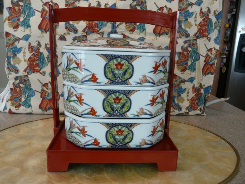 LOVELY Stacking Asian Porcelain Dinner Box