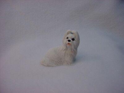 SHIH TZU white puppy TiNY DOG Figurine HAND PAINTED MINIATURE Mini Statue NEW