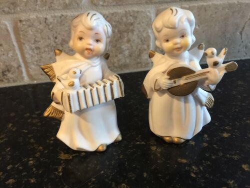 Vintage Treasure Masters Set/2 White Angels Singing, Playing Accordion, Mandolin
