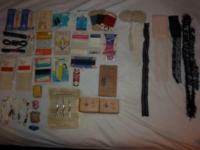 Lot of 50+ Vintage Sewing Embroidery Lace Ribbon Elastic Chalk Supplies - Sewing Supplies Wholesale