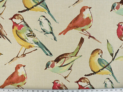 Drapery Upholstery Fabric Bird Branch Watercolor Screen Print on Linen - Spring