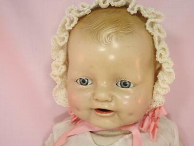 *Antique Doll BONNET Crochet,  Rosettes For Hendron, Horsman, or Vtfg Baby Dolls