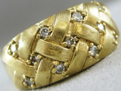 ESTATE WIDE STUDDED DIAMOND 14KT Y GOLD WOVEN RIGHT HAND BRUSHED RING #L1336.45