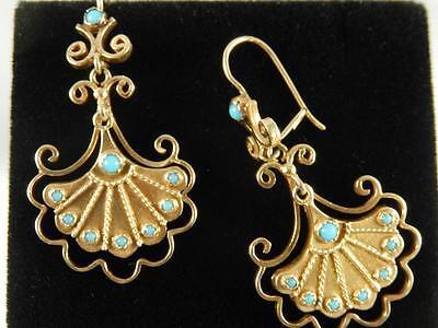 14k Gold VICTORIAN Persian Turquoise EARRINGS Long Drop Pierced Antique Ornate
