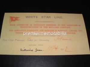 TITANIC WHITE STAR LINE MILLVINA DEAN SIGNED RE-PRINT 1st CLASS REPLICA TICKET