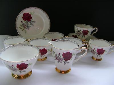 """Pretty 20 Piece Tea Set in """"Roses to Remember"""" Design by Royal Stafford."""