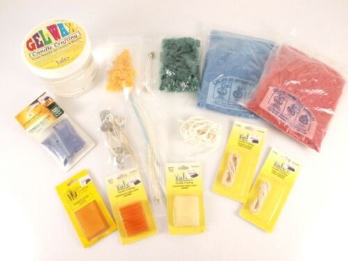 Candle Making Supplies Lot Gel Wax Crystals Wicking Glitter Scent Bars Craft