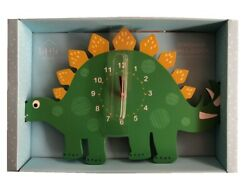 Green Dinosaur Themed Wall Clock Childrens Bedroom Dino Wooden 35cm