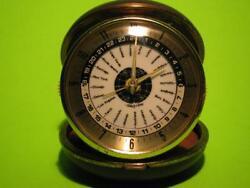 RARE VINTAGE BULOVA (made Japan) WORLD TIME (24 zone) TRAVEL ALARM CLOCK