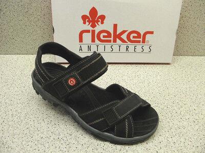 rieker  reduziert Top Preis  Sport Sandale Klett  Leder schwarz (R542)