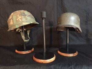 HELMET STAND- Military-German, US, WWI,II  BFC-I-C, Black with Wood Trim finish