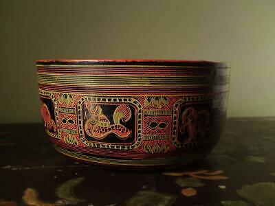 Antique Burmese Lacquer Bowl Various Animal Garuda Elephant Phoenix Bird Tiger