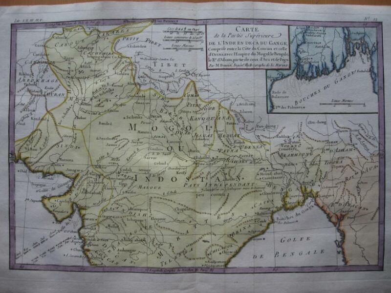 1780 - BONNE - Map  NORTHERN INDIA  MOGOL