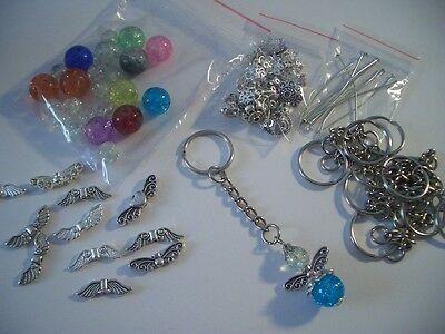 10 Stück Bastelset Schlüsselanhänger Schutzengel Engel Perlen Glücksbringer
