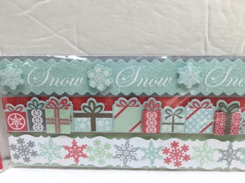 MARTHA STEWART snowflace dimensional border stickers presents snowflake holiday