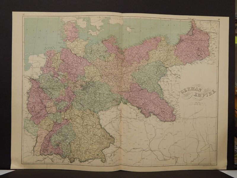 Antique Map, 1873, Germany, Double Page, R4#12