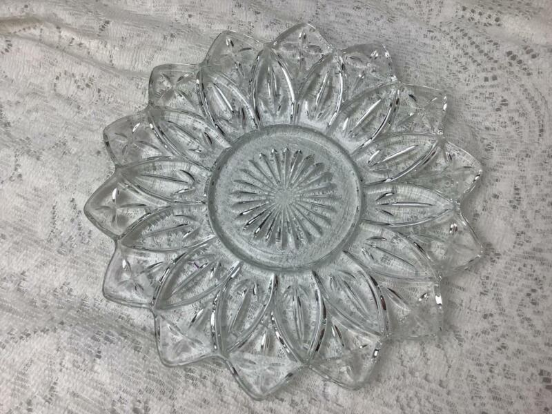 """Vintage Clear Glass Federal Petal Plate 9 1/4"""""""