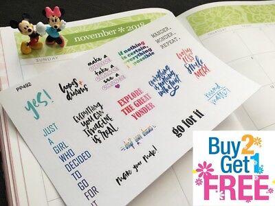 PP492 -- 14 Inspiration Quote Planner Stickers for Erin Condren, Happy Planner