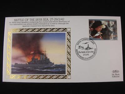 Benham Small Silk Stamp Cover  'Battle of the Java Sea' from  WW 2 series issue