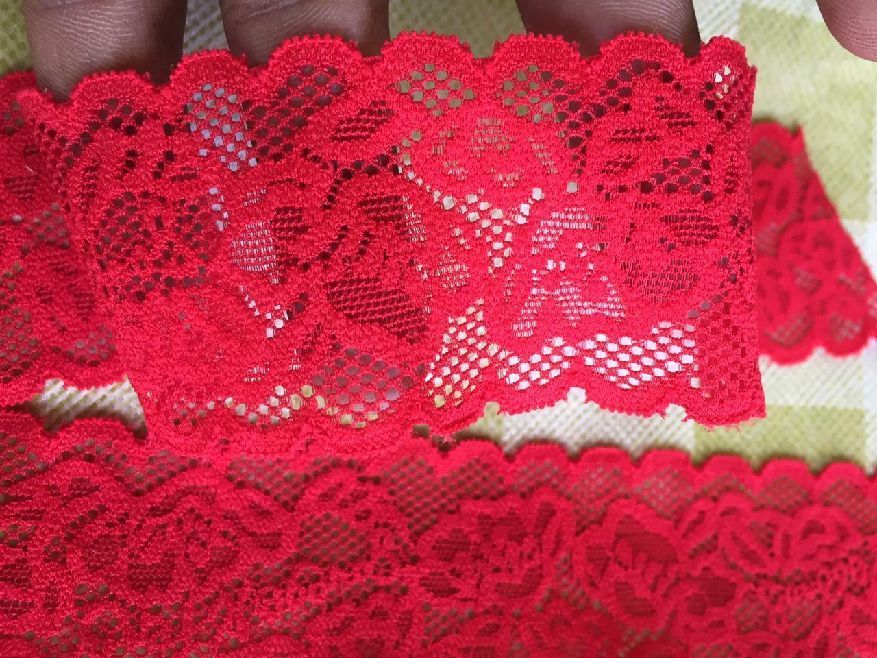 10m/3m Nylon Spitze Borte Elegante 4, 5cm Rot elastisch stoff  NR