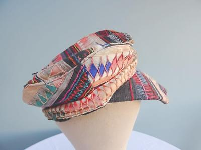 Vintage Afghanistan Hat Cap Mid 20th Century Embroidered Applique Detail Mens