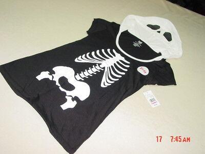 NWT Junior Womens Unique Hooded Skeleton Top Shirt Black White Bones Halloween - Unique Halloween Shirts
