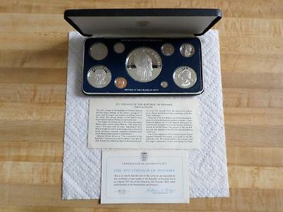 Franklin Mint 1975 Panama 9-coin Proof Set -certificate-Balboa-Panama Government