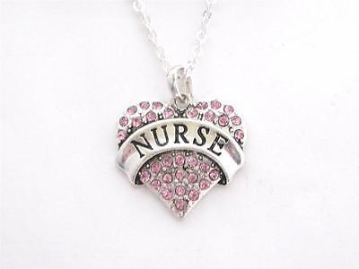 Nurse Nursing RN LPN Silver Chain Necklace Pink Crystal Heart -