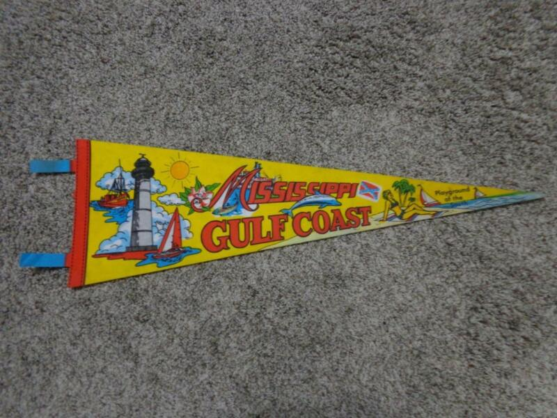 VINTAGE MISSISSIPPI GULF COAST PLAYGROUND OF THE SOUTH PENNANT 27 1/2 LONG wTABS
