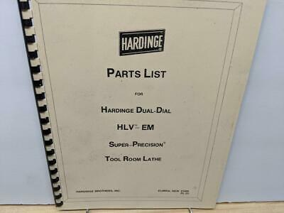 Hardinge Hlv-em Tool Room Lathe Parts Manual