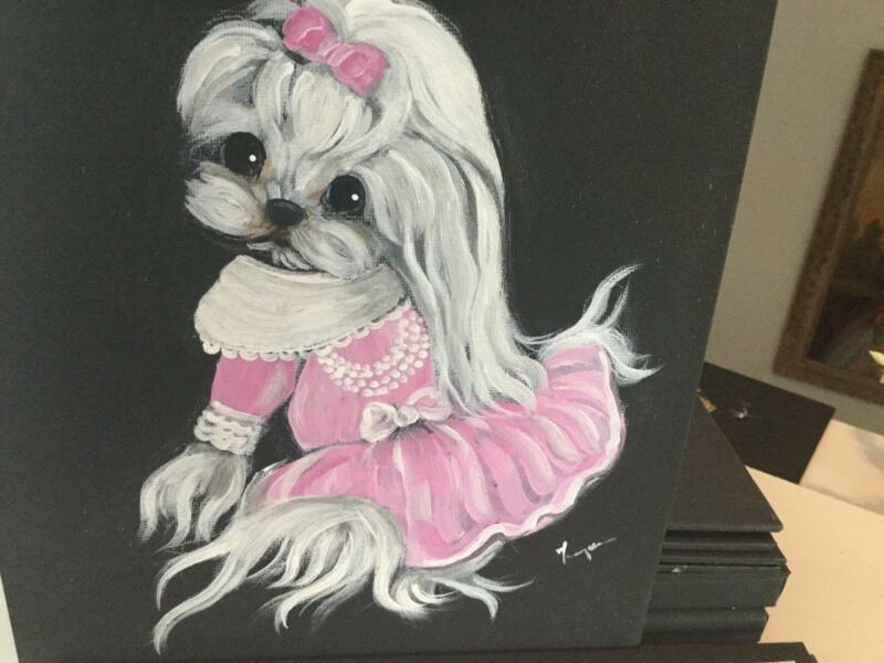 ADORABLE ORIGINAL PAINTING OF THE MALTESE!