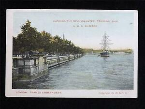 OLD-POSTCARD-OF-H-M-S-BUZZARD-LONDON-THAMES-EMBANKMENT-USED-1907
