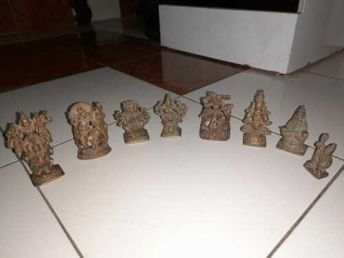 Set of 8 Old Antique Vintage Brass Hindu God Goddess Statue Figurine Idol Decor